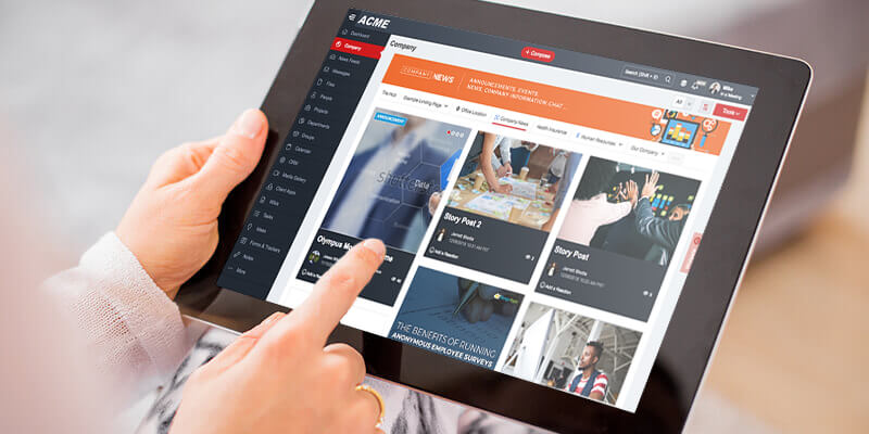 MangoApps Company Sites Module On Tablet