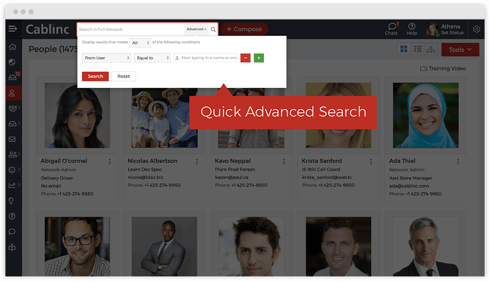 Search the employee directory by department, location, expertise, skills and more, with multiple criteria and saveable filters.