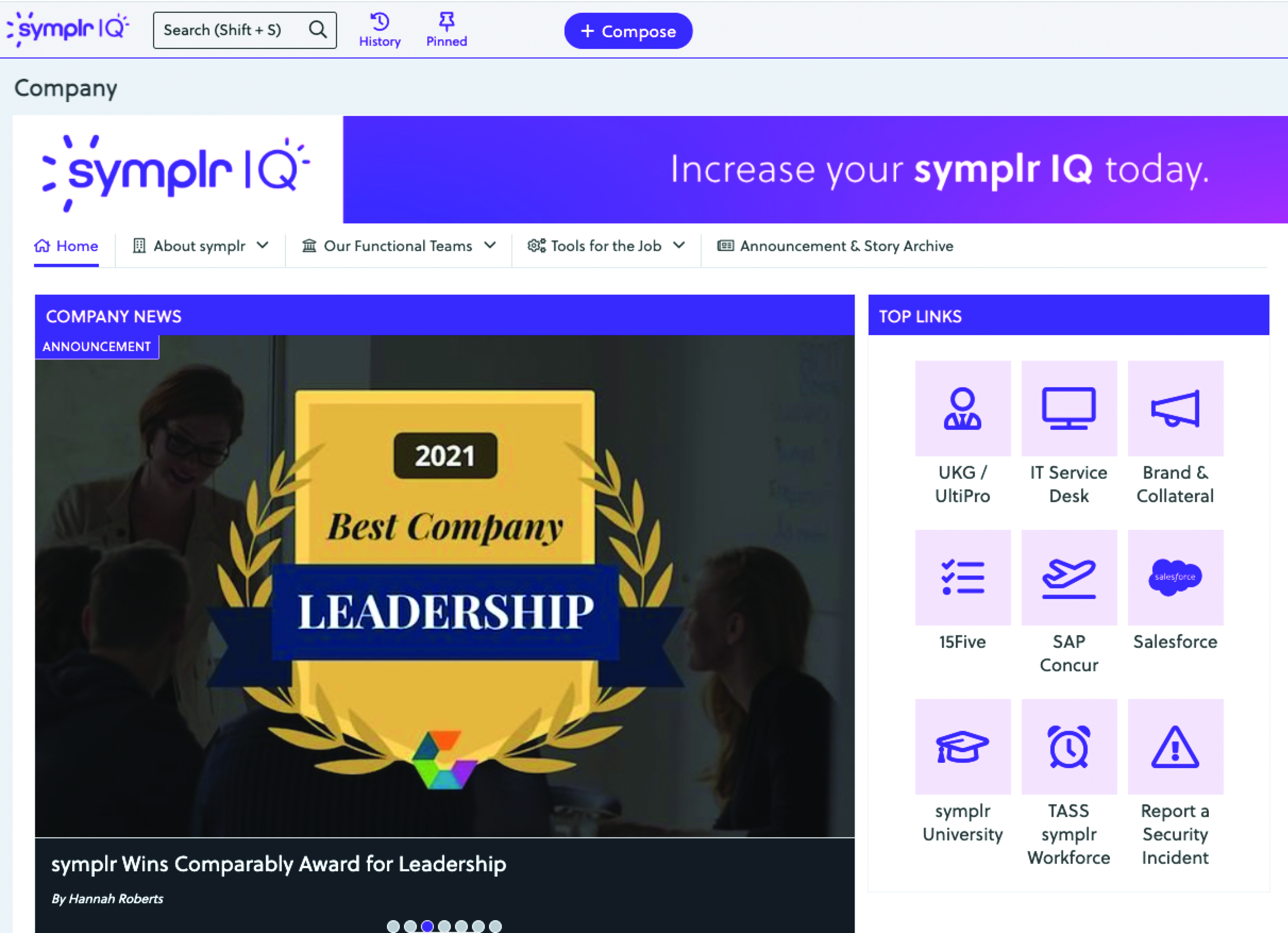 symplr's company intranet home page