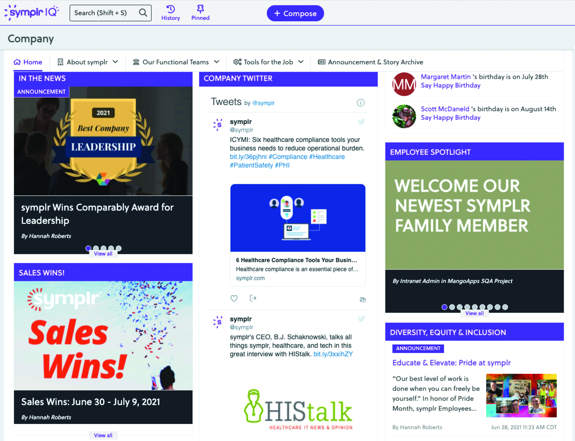 symplr's intranet home page and news feed
