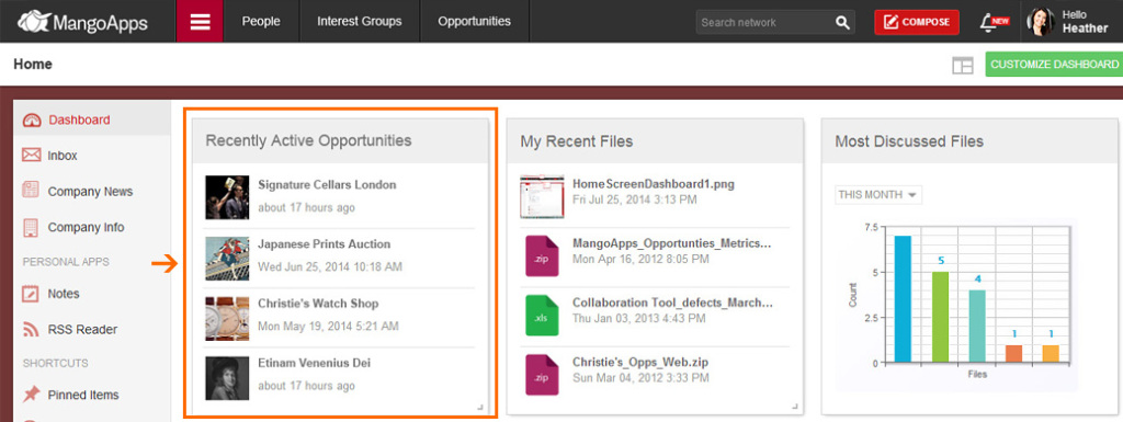 Access or view your recently active opportunities from your dashboard.