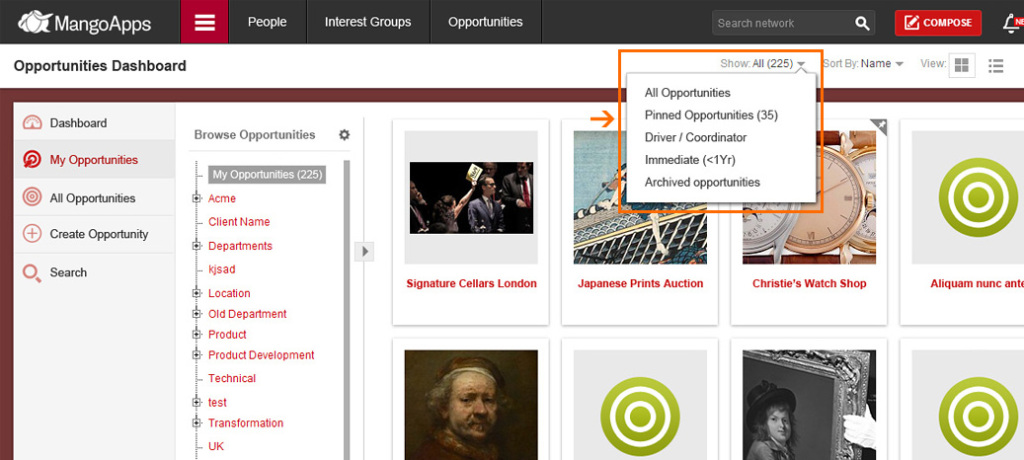 Apply filters to your lists to find what you're looking for quickly.