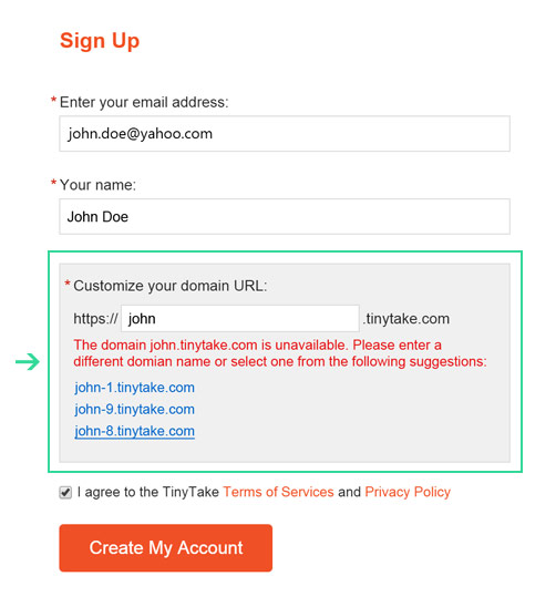 When signing up for the first time, TinyTake now suggests available domain URLs if the one entered is already taken/registered.