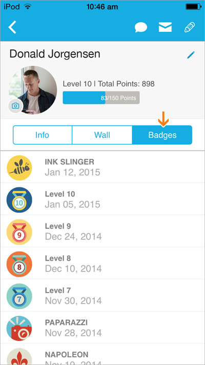 View coworkers' level and badges in their profile pages.