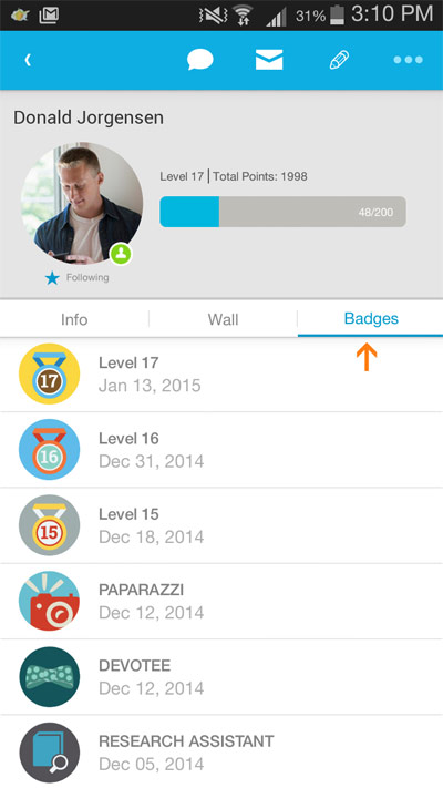 Access coworkers' profile pages for their current level, points, and badges.