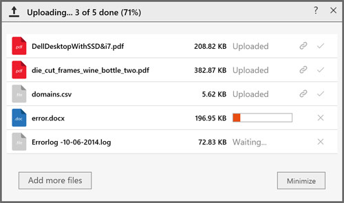 Multiple files are no longer compressed into a single zip file before upload. They are now uploaded as individual files.