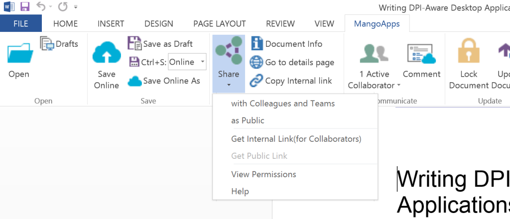 Users can get a link to share a file directly from the desktop application.