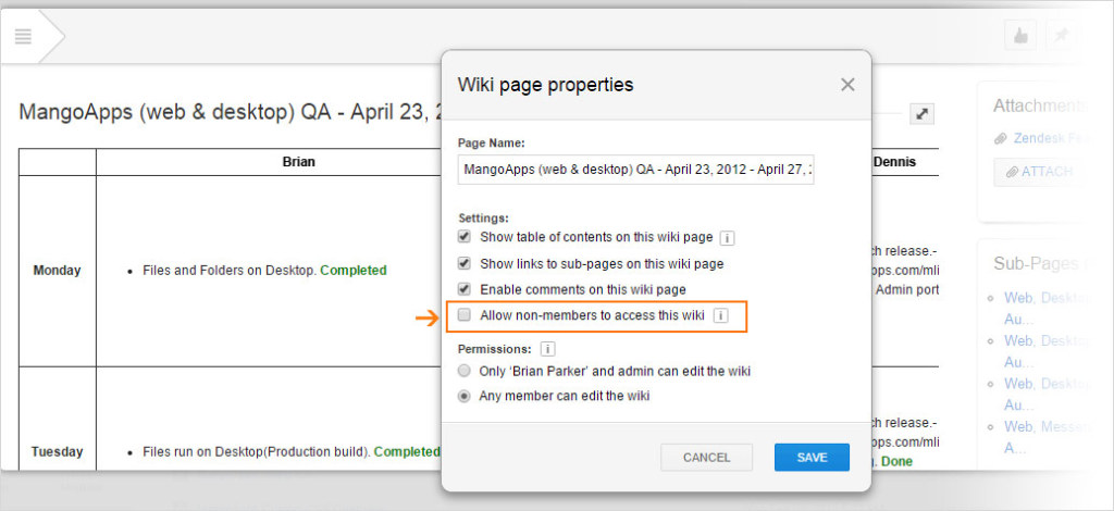 Admins and authors of wikis can allow non-members access to a wiki in the Wiki page properties section.