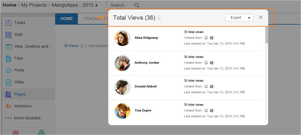 See how popular or effective a page, post, or wiki is by looking at how many views it has.