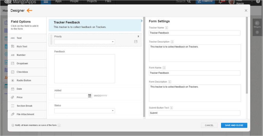 The Form Designer offers a variety of great customization tools.