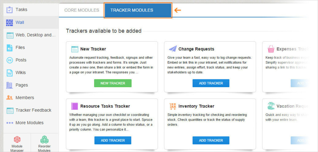 An admin can choose from a variety of trackers or he or she can design an entirely new one.