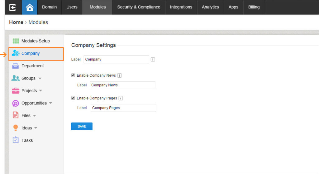 The new Module tab grants admins easy access to their Company Settings.