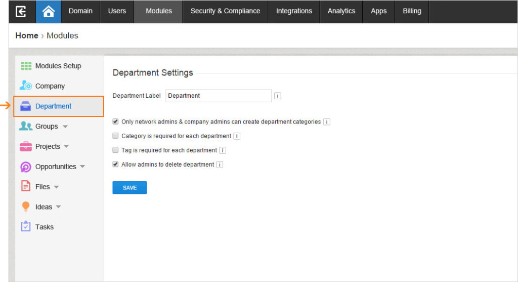 The new Module tab grants admins easy access to their Department Settings.
