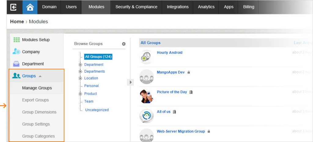 The new Module tab grants admins easy access to their Groups Settings.