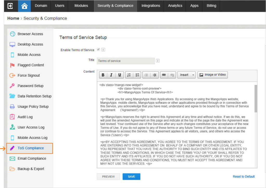 The security and compliance capabilities for admins are now available in the Security & Compliance section.