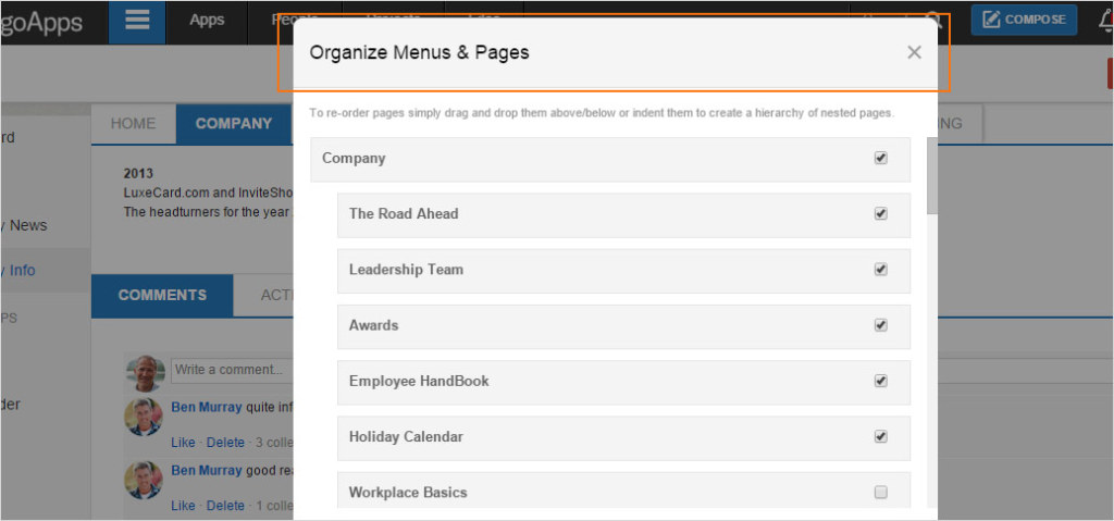 Team admins can organize pages in their Intranet from the page tools menu.
