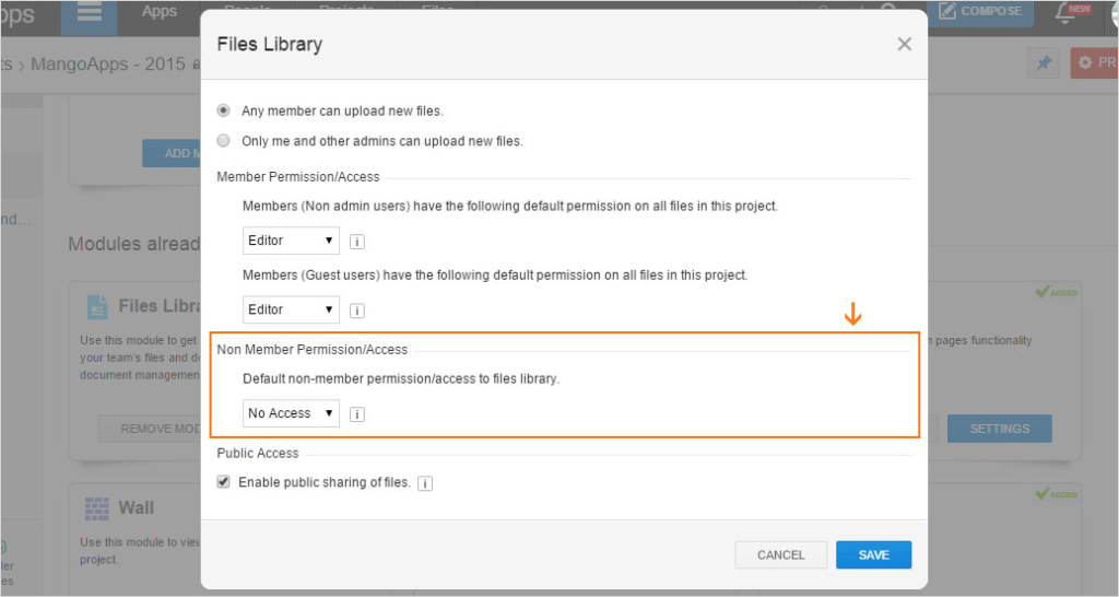Users can now give view-only access to non-members for wikis, files, pages, forms, and member list modules in teams.
