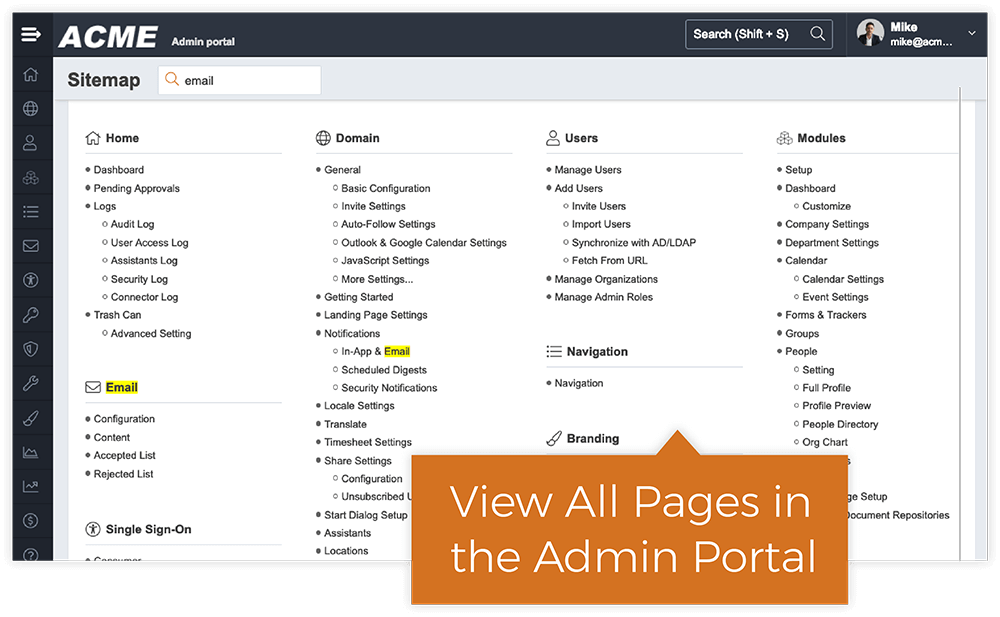 Explore The Admin Portal With Sitemap Search
