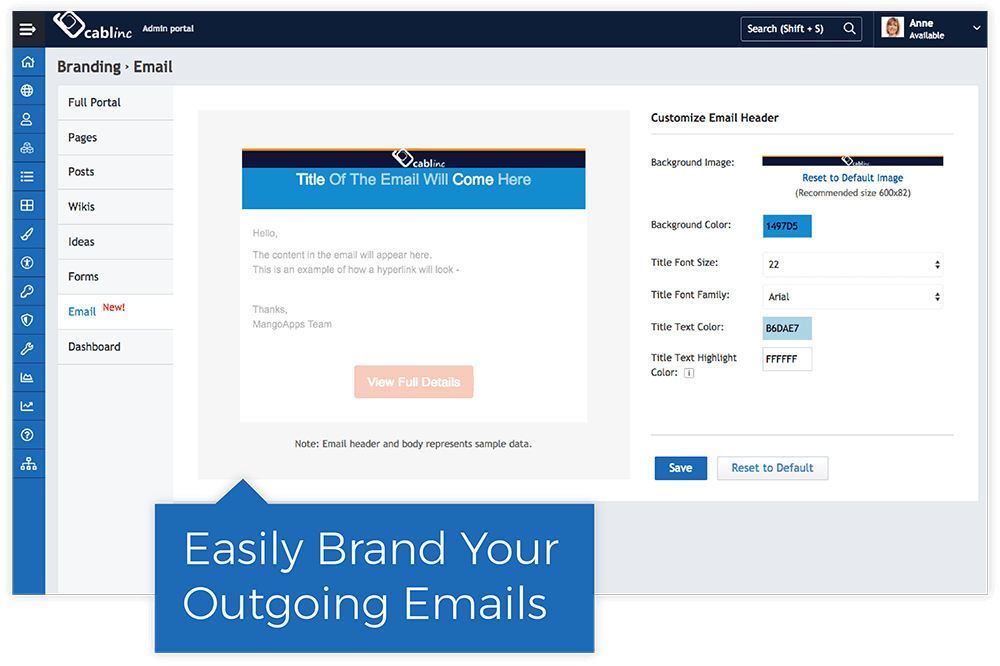 Brand Outgoing Emails