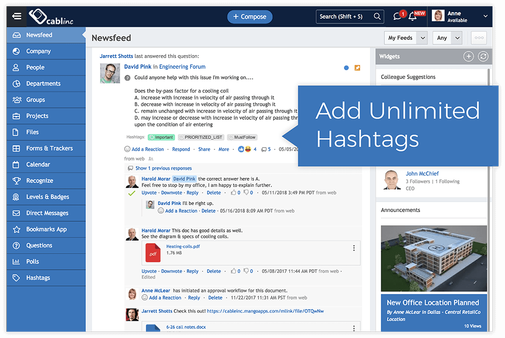 Greater engagement with hashtags and automatic threading