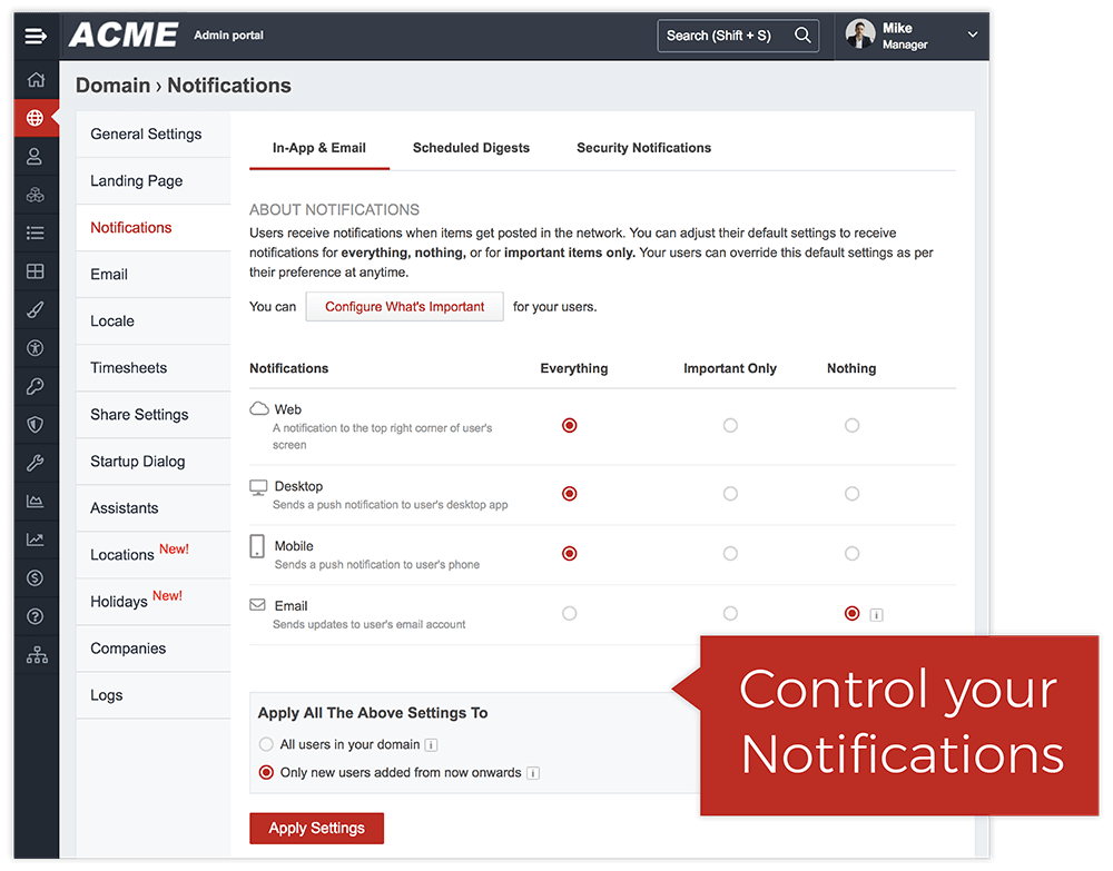Flexible Notifications