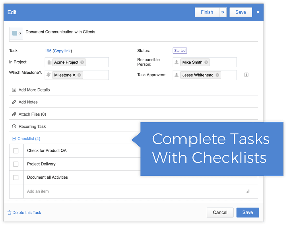 Break Big Tasks Into Smaller Checklists