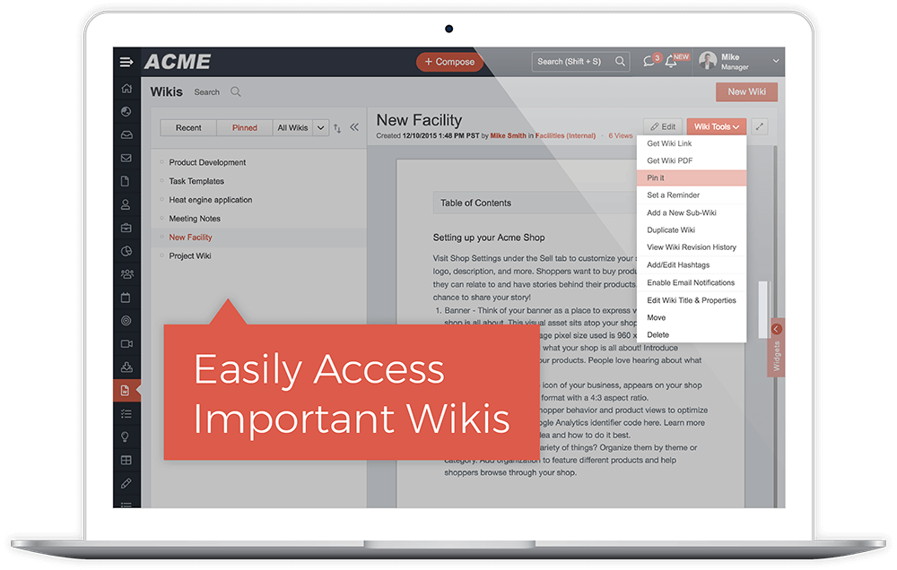 Pinned Wikis For Quick Access
