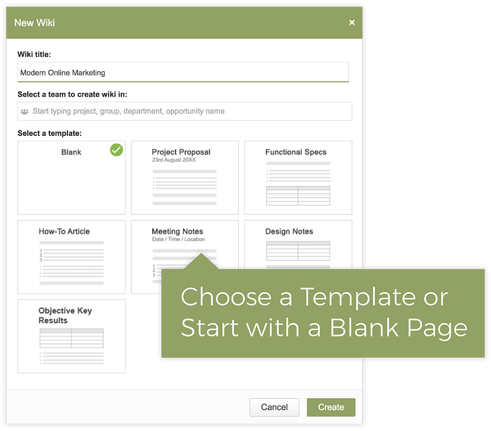 Create Quick Wikis With Templates