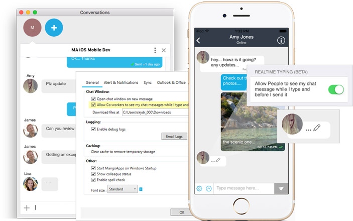 Hyper real time messaging from desktop and mobile apps