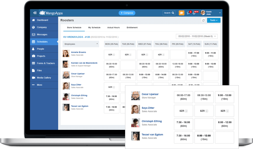 Integrates your existing schedule & shift solution