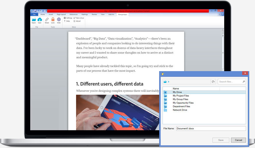 Document editing integrated with MS Office