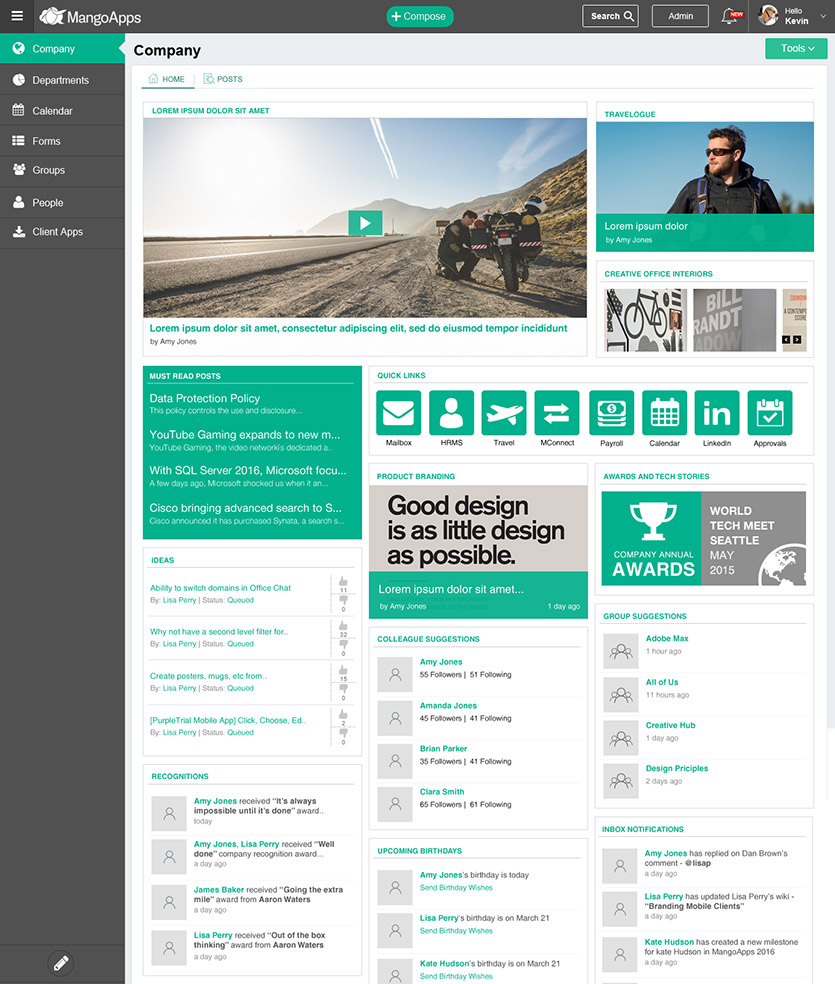Custom intranet design samples and service mangoapps for Company intranet template