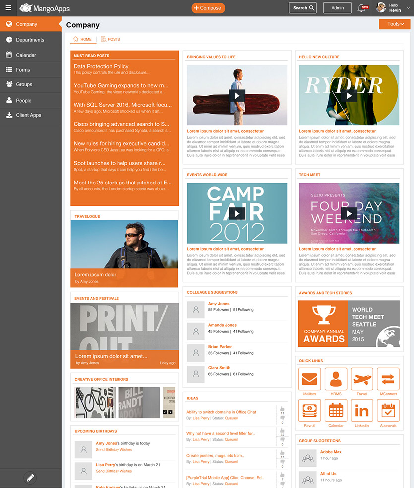intranet template medium to large business web design