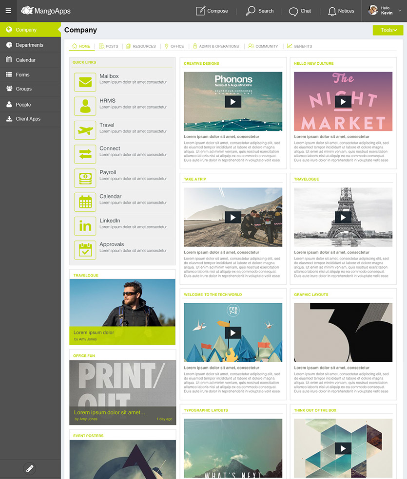 mangoapps your company branded intranet design samples - Intranet Design Ideas