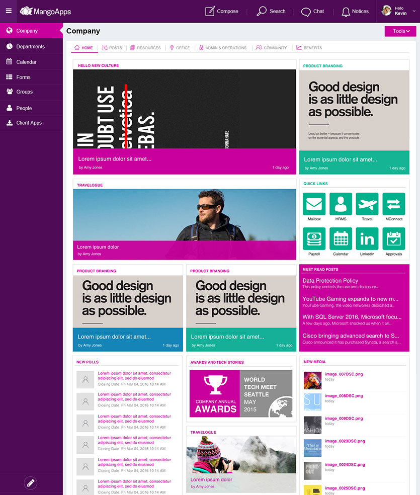 Intranet design branding service mangoapps for Company intranet template
