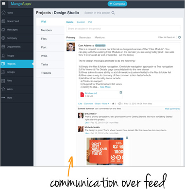 Communication over feed